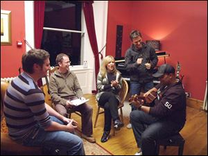 Christian songwriters Tim Hughes, left, Graham Kendrick, Darlene Zschech, Michael W.