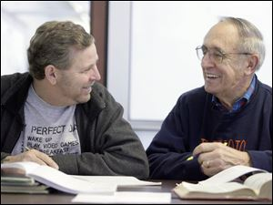 Reading student Henry Hartford, left, and his tutor, Bob