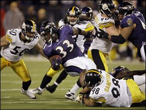 Ravens fullback LeRon McClain finds himself between Steelers Larry Foote (50) and Casey Hampto