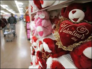Simpler gifts like these stuffed bears at a Wal-Mart in Cleveland may be a more popular option than diamonds.
