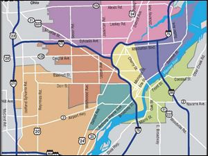 The city's police map could be changed from seven sectors to eight, as shown here. There are other