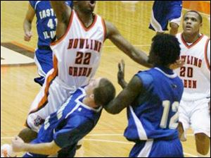 Bowling Green freshman guard Darnell Brown, a friend of Joe Dumars' son, goes to the basket against Eastern Illinois.