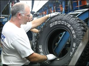 James Brown, Jr., does an inspection at Cooper Tire, a firm Standard & Poor s analysts say is  highly leveraged  with debt of $855 million. Company spokesmen say it is not in danger of bankruptcy.