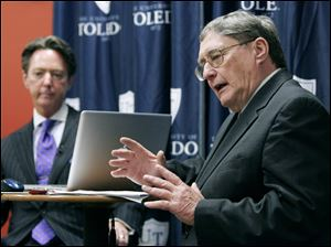Dr. Lloyd Jacobs, University of Toledo president, answered 20-plus questions during the town-hall meeting at which he announced the layoffs. In response to one, he said he did not relinquish a $150,000 bonus to help retain employees.