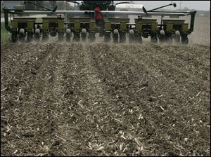 A field along County Road 4 in Fulton County is prepared for soybeans. About 13 percent of Ohio's crop is planted.
