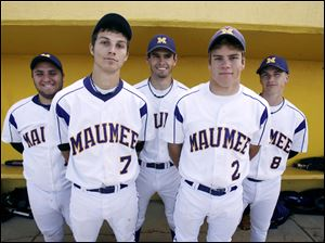 Maumee is 20-3 overall, 7-2 in the Northern Lakes League. Some top players this season for the Panthers have been seniors, front from left,Joe Brady and Nick Gerschultz, and back, from left, Bobby Chapman, Ryan Williams and Corey Kolbow. Maumee is hitting .355 as a team.
