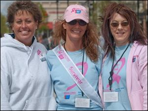 From left: Kelly Savage, Alicia Pangrac, and Sara Moynihan were cancer-walk chairmen.