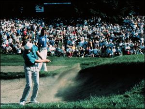 Bob Tway hits his bunker shot at the final hole of the 1986 PGA Championship. The shot went in and Tway s name was forever linked to the bunker at Inverness Club.