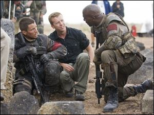 McG goes over a  Terminator Salvation  scene with actors.