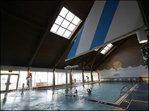 The pool at Maumee Bay Resort  boasts new water splash features, including a waterfall and a sprinkler. These features were added during a $1 million renovation project. The resort held an open house so those interested could take a peek at the additions and renovations.