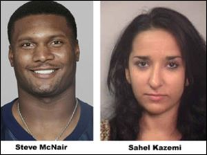 This combo shows Steve McNair, left, in a 2003 season file photo and Sahel Kazemi is shown in this undated booking photo from the Davidson County Sheriff. McNair, who led the famous Tennessee Titans' drive that came a yard short of forcing overtime in the 2000 Super Bowl, was found dead Saturday July 4, 2009 with multiple gunshot wounds, including one to the head. Police said a pistol was discovered near the body of a woman, identified by Nashville police spokesman Don Aaron, as 20-year-old Sahel Kazemi also shot dead in a downtown condominium. She had a single gunshot wound to the head. (AP Photo)