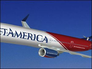 In this artist's rendering provided by JetAmerica, a JetAmerica aircraft is shown.