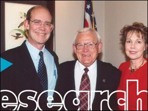 Historian and professor Randy Buchman with Julie and David Eisenhower at a Town and Gown event.