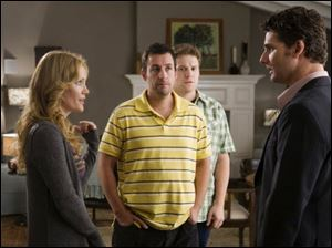 from left, Leslie Mann, Adam Sandler, Seth Rogen and Eric Bana in 'Funny People.'