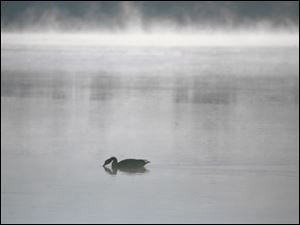Cold air and the warmer water of the Maumee River create a scenic mist at the public dock in Walbridge Park in South Toledo.