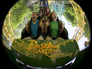 Visitors show their reaction to a ride down the Loch Ness Monster at Busch Gardens in Williamsburg, Va., one of 10 theme parks sold to the Blackstone Group, New York investors.