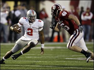 Quarterback Terrelle Pryor has carried the ball 55 times this season for 298 yards to lead the Buckeyes in rushing.