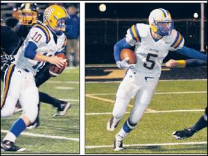 LEFT: Northwood quarterback Erik Russell has thrown for 396 yards and five touchdowns, while running for seven TDs. RIGHT: Jake Pressley (382 yards rushing, five TDs) stiff arms Toledo Christian's Luke Sims.