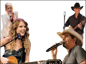 From left: Taylor Swift, Carrie Underwood, Kenny Chesney, and Brad Paisley.
