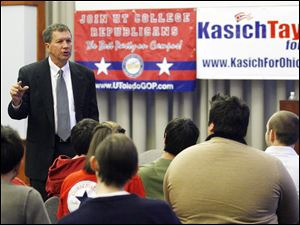 Gubernatorial candidate John Kasich speaks to University of Toledo students.