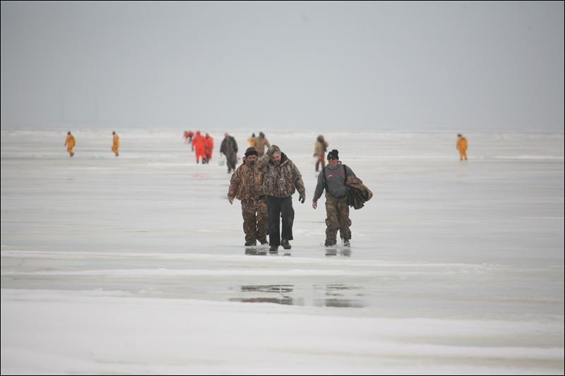 Trapped on the ice for Lake erie ice fishing