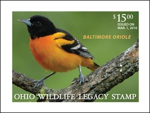 The Ohio Division of Wildlife hopes all who want to support wildlife, not just hunters, trappers, and fisherman, will buy the new Baltimore oriole stamp.