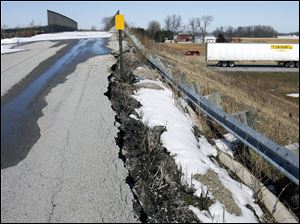 Jacobs Road in Sandusky County's Riley Township has been closed at this overpass since 2007. The embankment is crumbling. overpass problems in Sandusky county