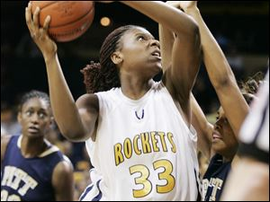 Toledo's Yolanda Richardson drives to the basket during the Rockets' win over Pittsburgh in the first round of the WNIT.