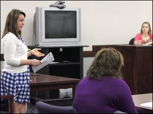 Jessica Walls, left, of Otsego High School acts as defense attorney