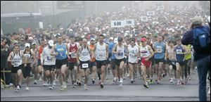 The Glass City Marathon gets under way on the University of Toledo campus in Toledo, Ohio, Sunday, April 25, 2010. 