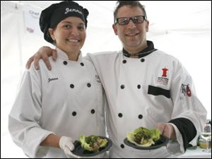 Celebrity chef Andy Husbands of Boston, right, with Chef Jenna Wagener.