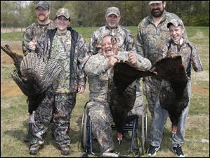 Successful Wheelin' Sportsmen turkey hunters and their guides include, from left, Ben and Crystal Hammond, Gus Franks and guide Jim Steinwand, and guide Rob Fleitz and young hunter Nick Hunt.