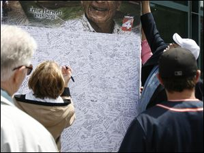 Eight large boards were set up for fans to leave tributes. Nearly every square inch was filled.