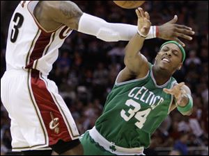 Cleveland's LeBron James tries to block a pass by Boston's Paul Pierce. James scored 38 points Friday night in Game 3.
