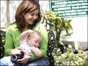 Slug:  Whitehouse                            Date 5/9/2010 Toledo Blade/Amy E. Voigt                Location: Whitehouse, Ohio  CAPTION:   Miriam Estevez holds her son Louis, seven months from Ypsilanti,Michigan while looking at a butterfly while spending Mother's Day with her children at The Butterfly House on May 9, 2010.