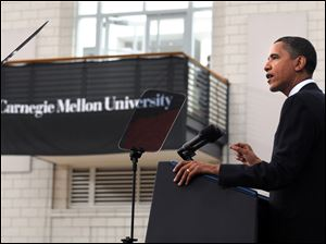 President Obama speaks in Pittsburgh at Carnegie Mellon University's Wiegand Gymnasium about his economic policies and the Gulf of Mexico oil spill in front of an invited audience of about 375.