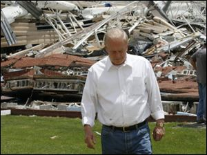 Gov. Ted Strickland, who visited Lake High School and other storm-ravaged sites in northwest Ohio Sunday, declared a state of emergency.