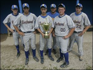 Pictured are members of the Northwood baseball team, including from left, Cameron Juhasz, Andy Bloomfield, Nick Russell, coach Dave Russell, Dylan Romstadt, and Drew Minarcin.