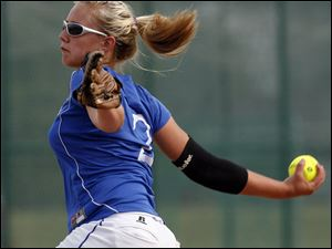 Springfield's Ashlyn Michalak makes a delivery against Anthony Wayne in a Division I regional semifinal. Michalak  will pitch at Owens CC.