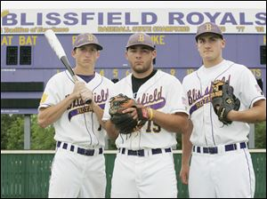 Cody Spotts, left, Adam Warner, center, and Eric Schmidt have led Blissfield (36-6) to a No.5 ranking and a regional semifinal date.