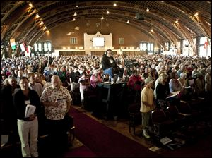 The West Ohio Conference of the United Methodist Church held its annual meeting in Hoover Auditorium in Lakeside, Ohio, and the usually routine election of a treasurer sparked debate.