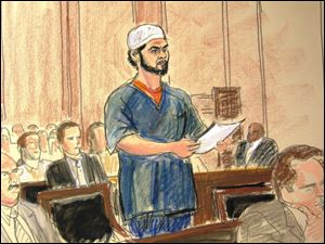 In this courtroom sketch, Faisal Shahzad pleads guilty Monday in Manhattan Federal Court to carrying out the failed May 1 car bombing in New York's Times Square.
