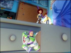 In this video game image characters, from left, Buzz, Jessie and Woody explore Andy's bedroom.