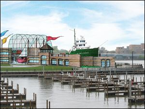 An artist's rendering depicts the National Great Lakes Museum on the Maumee River's east bank.