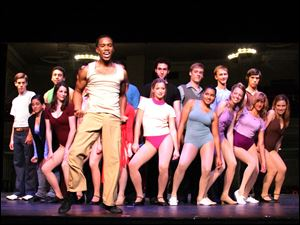 Troy McGee of Toledo as Richie with the cast members from the Croswell production of 'A Chorus Line.'