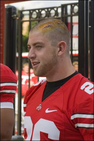 Tyler Moeller (seen last season) had lacerations from an off-campus assault stapled shut on his head.