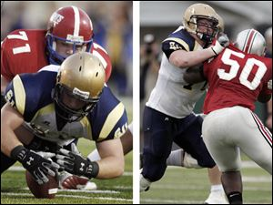 Left, Jack Miller of St. John's, who has committed to Michigan, recovers a fumble last season against St. Francis. Right, Chris Boles (50) of Central Catholic, who has committed to Illinois, blocks Jack Mewhort of St. Johns, now of Ohio State, in a 2008 game.