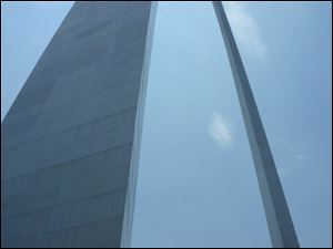 The Gateway Arch is St. Louis offers spectacular views from its cramped top.