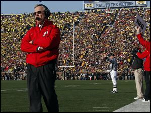 Ohio State coach Jim Tressel walks the sideline at Michigan