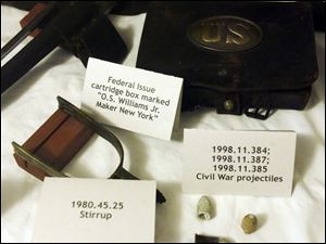 Among the artifacts from the Civil War at the Historical Center and Museum are these items. The War's sesquicentennial won't start until next year, but committee members have been planning for months.
